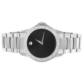 Mens Movado Watch Millitary Style Real Diamond 0605869 Black Dial 38MM Stainless Steel