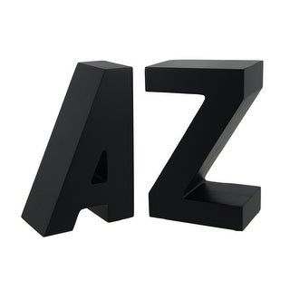 Black Solid Wood A to Z Bookend Set