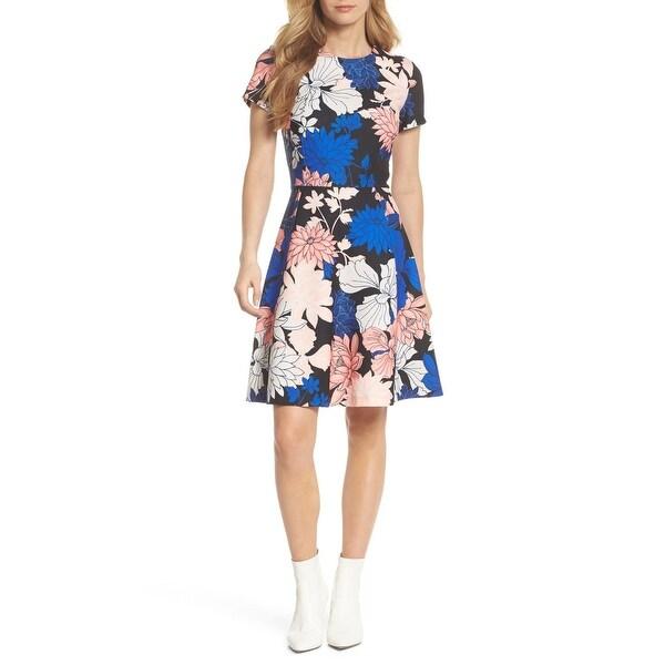Eliza J Blue Womens Size 12 Scuba Crepe Fit Flare A-Line Dress