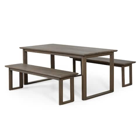 Nibley Outdoor Acacia Wood Outdoor 3 Piece Picnic Dining Set by Christopher Knight Home