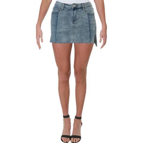 Vanilla Star Womens Juniors Mini Skirt Denim Hi-Low - Blue - 7