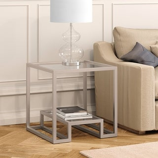 Link to Athena Geometric Luxe Side Table in Silver Similar Items in Living Room Furniture