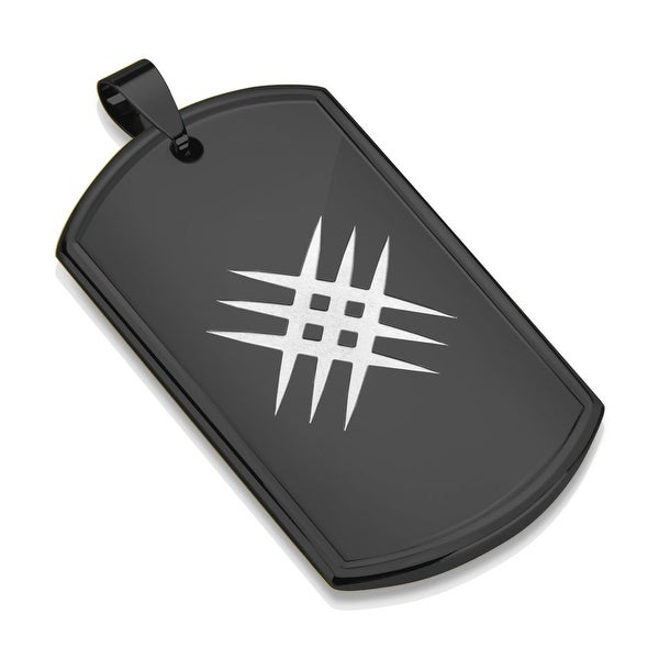 Laser Etched Crossed Scratch Black IP Stainless Steel Dog Tag Pendant (30.5 mm Width)