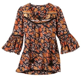 Women's Tunic Top - Fall Leaves Print Bell Sleeves Peasant Blouse