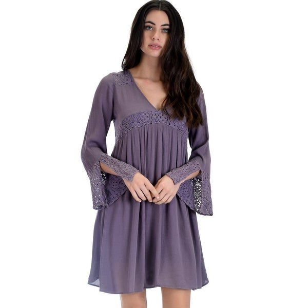 c4f26c77e2 SL3624 Lilac Grey Long Bell Sleeve Dress With Lace Contrast-Lilac-Large