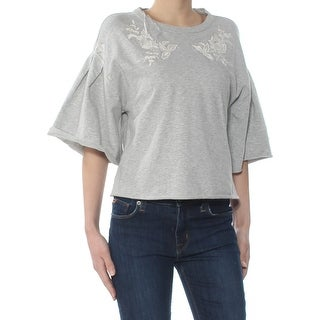 1. STATE Womens Gray Bell Sleeve Jewel Neck Sweater  Size XS