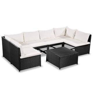 vidaXL 7 Piece Garden Lounge Set with Cushions Poly Rattan Black