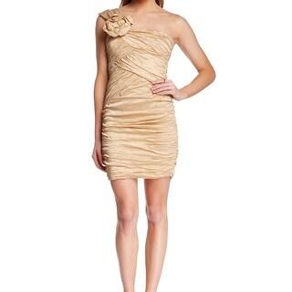 BCBG Max Azria NEW Gold Ruched One Shoulder Womens Size 2 Sheath Dress