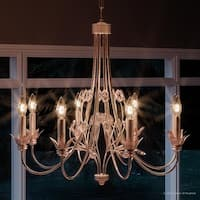 """Luxury French Country Chandelier, 30""""H x 30""""W, with Art Nouveau Style, Natural Design, Chateau White Finish"""