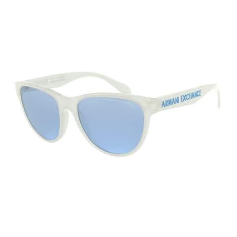 Armani Exchange AX4095SF 83121U 56 Shiny White Woman Square Sunglasses
