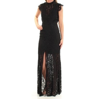 FAME AND PARTNERS Womens Black Slitted Lace Sleeveless Turtle Neck Full-Length Sheath Evening Dress Size: 0