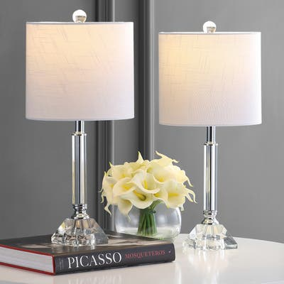"""Dana 19.5"""" Crystal/Metal LED Table Lamp Set, Clear by JONATHAN Y"""