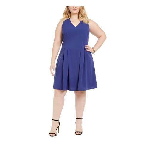 TEEZE ME Blue Sleeveless Knee Length Fit + Flare Dress Size 16