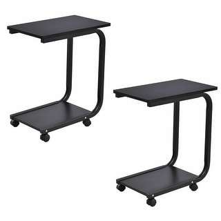 Gymax Set of 2 Coffee Sofa Side End Table Snack Stand Rolling Over Bed Laptop PC Desk