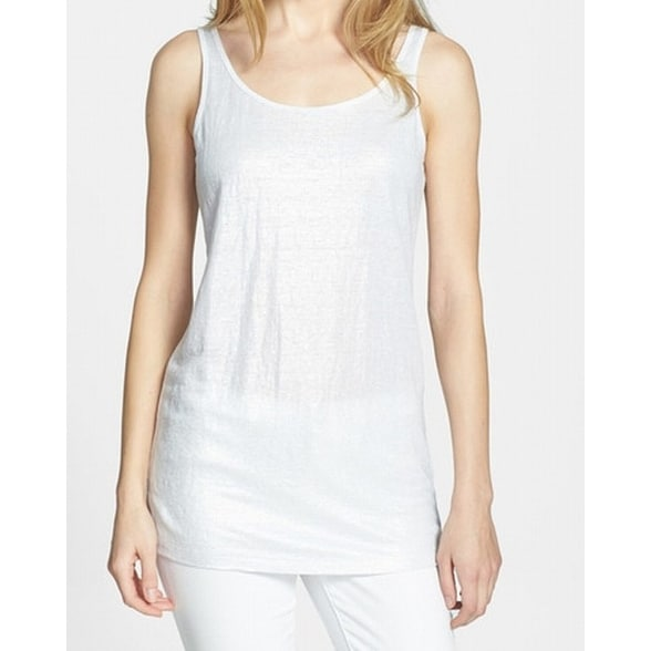 fd6f1880898304 Shop Eileen Fisher NEW Silver Women s Size XL Metallic Linen Tank Cami Top  - Free Shipping Today - Overstock - 19504676