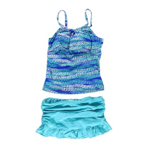 Island Escape Womens High Neck Skirtini 2 Piece Tankini