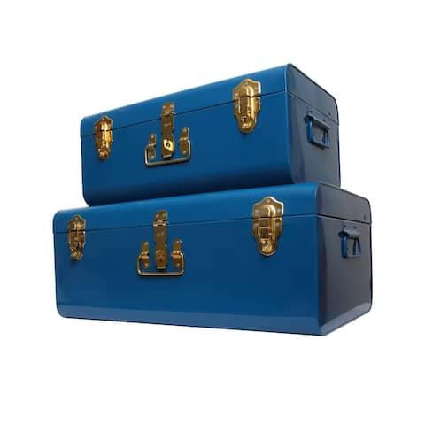 Zanzer Storage Trunks Space Saving Organizer Vintage Style Gold Clasp Set of 2 Blue