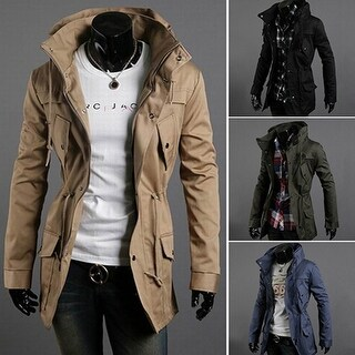 Mens Fashion Zip Button Hooded Military Slim Fit Collar Jacket Long Coat Outwear