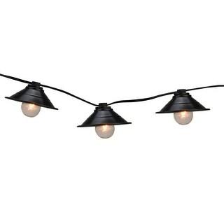 Set of 10 Black Metal Pendant Lantern Summer Garden Patio Lights - Black Wire