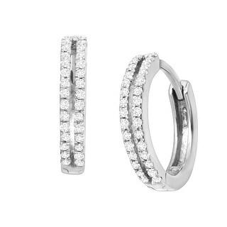 1/4 ct Diamond Hoop Earrings in Sterling Silver