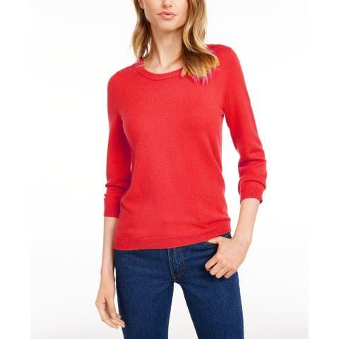 Maison Jules Women's Crewneck 3/4-Sleeve Sweater Orange Size Medium