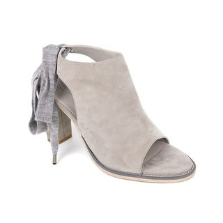 Brunello Cucinelli Women's Grey Suede Peep Toe Lace Ankle Boot
