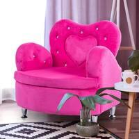 Gymax Rose Kids Sofa Armrest Chair Couch Soft Velvet Toddler Children's Furniture
