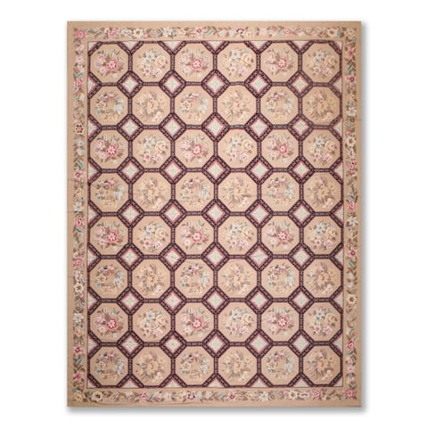 Traditional Floral Wool Hand Woven Needlepoint Area Rug (9'x12') - 9' x 12'