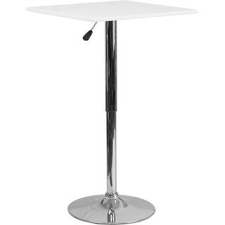 Dyersburg 23.75'' Square Height Adjustable White Wood Table (33'' - 40.5'' Range) for Restaurant/Bar/Pub