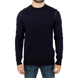 Karl Lagerfeld Blue wool crewneck pullover sweater
