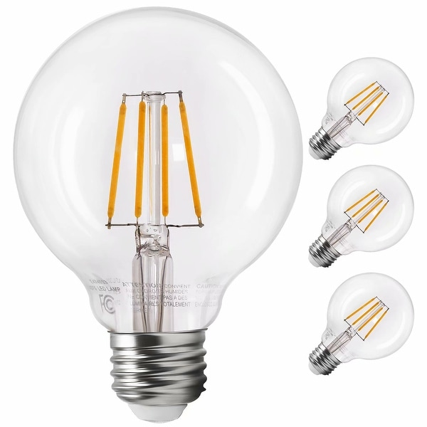 LED G25 Dimmable Filament Light Bulb, Globe Edison Vintage Style, 2700K Soft White, Pack of 3 - Soft White. Opens flyout.