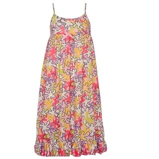 Little Girls Multi Color Spot Print Ruffle Hem Spaghetti Strap Nightgown