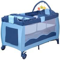 New Blue Baby Crib Playpen Playard Pack Travel Infant Bassinet Bed Foldable