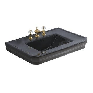 Renovator's Supply Large Victorian Black Vitreous China Pedestal Bathroom Sink Only
