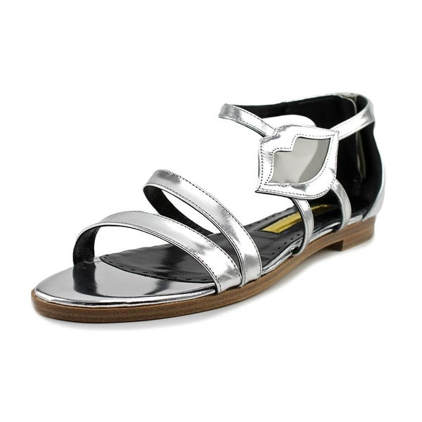 Rupert Sanderson Pukatea Women Open-Toe Leather Silver Slingback Sandal