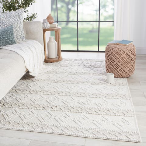Melton Indoor/ Outdoor Trellis White/ Light Gray Area Rug