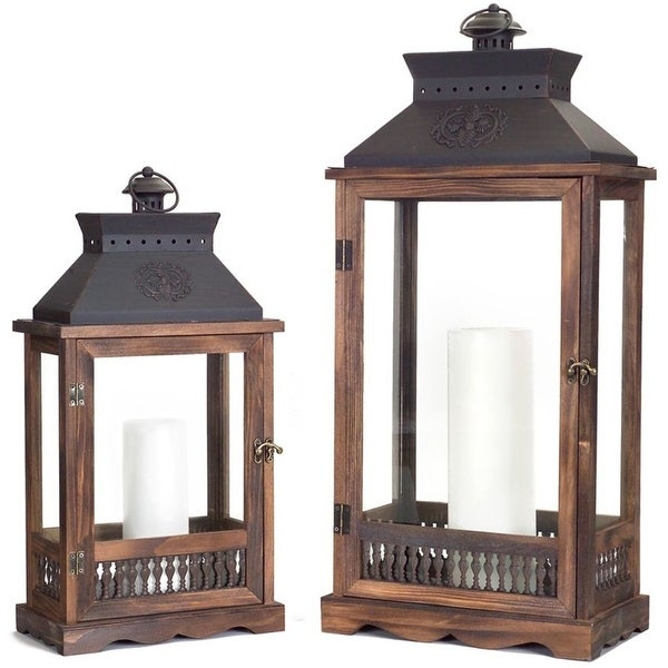 """Set of 2 Wooden Country Rustic Vented Top Candle Lanterns 27.5"""" - N/A"""