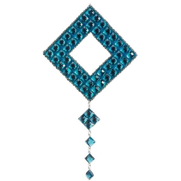 "12"" Elaborate Teal Jeweled Diamond Drop Christmas Ornament"