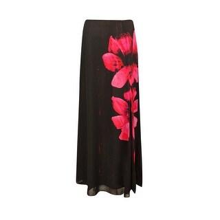 Guess Los Angeles Women's Chiffon Floral Slit Hem Skirt - Jet Black - S