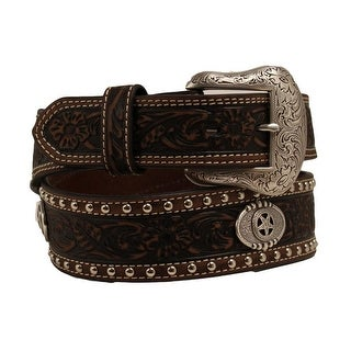 Nocona Western Belt Mens Star Conchos Tooled Floral Brown