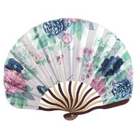 Unique Bargains Chinese Dark Blue Peony Flower Fabric Bamboo Folding Hand Dancing Fan White