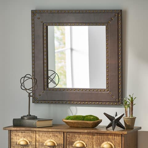 Chamlee Indoor Leather Handcrafted Studded Square Wall Mirror by Christopher Knight Home