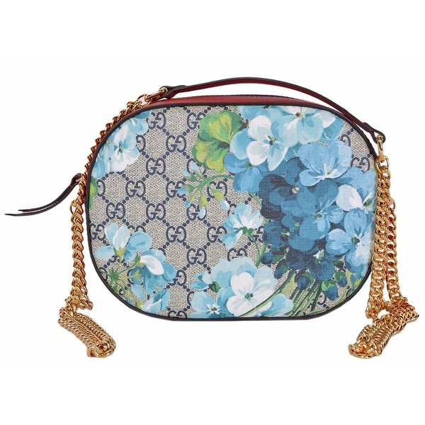 4fa8c01bec47 Gucci Women's Beige / Blue GG Coated Canvas Small Bloom Chain Bag
