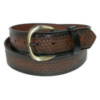 Hickory Creek Men's Leather Deer Embossed Basketweave Belt