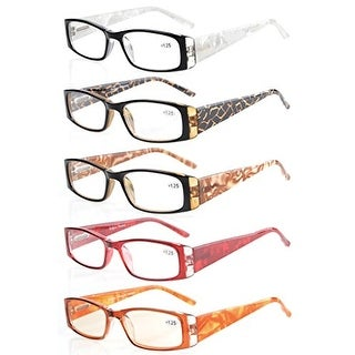 Eyekepper 5-Pack Marble Pattern Arms Reading Glasses Women +0.5