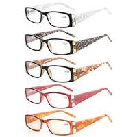 Eyekepper 5-Pack Marble Pattern Arms Reading Glasses Women +2.75