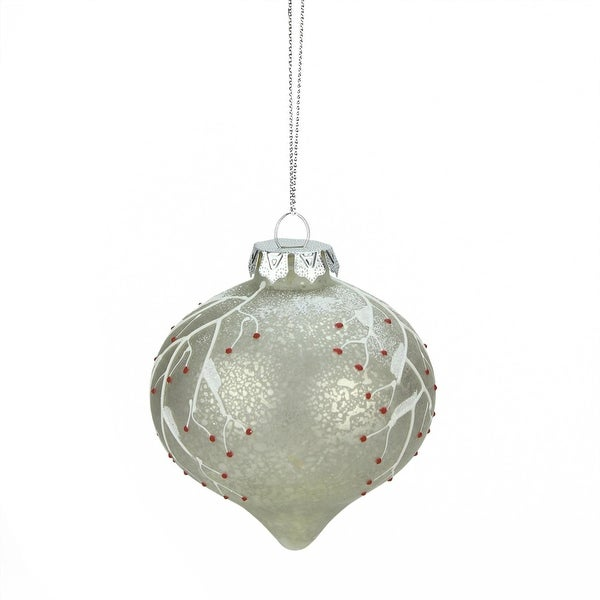 """3"""" Country Cabin Berry Branch Glass Onion Drop Christmas Ornament"""
