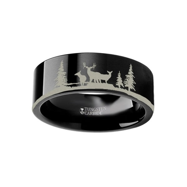 THORSTEN - Animal Landscape Scene Reindeer Deer Stag Ring Engraved Flat Black Tungsten Ring - 4mm