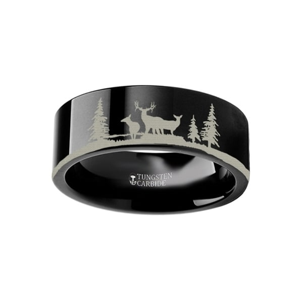 THORSTEN - Animal Landscape Scene Reindeer Deer Stag Ring Engraved Flat Black Tungsten Ring - 6mm