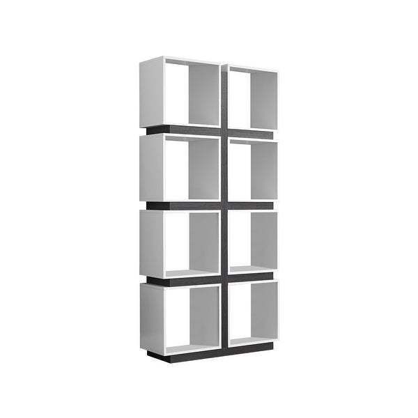 Monarch Specialties I 7076 71 Inch Tall Shelving Unit With Modular Square Shelve White